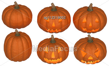 Halloween Pumpkins Collection With Candle Inside Isolated Over White. Other Pumpkins Are In My Portfolio Stock Photo