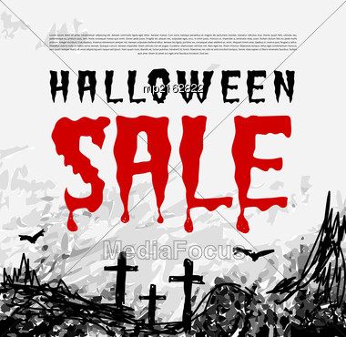 Halloween Sale Vector Background. Illustration In Grunge Style Stock Photo