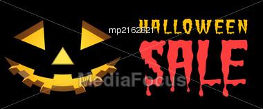Halloween Sale Vector Background With Pumpkins Lantern Stock Photo