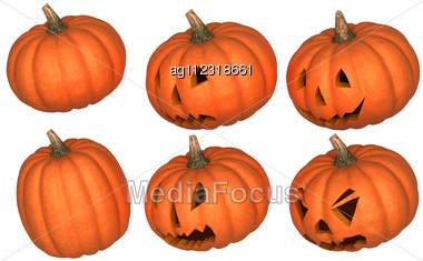 Halloween Scary And Funny Pumpkins Collection Isolated Over White. Other Pumpkins Are In My Portfolio Stock Photo