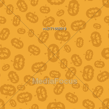 Halloween Silhouette Of Cartoon Pumpkin Seamless Pattern On Orange Background Stock Photo