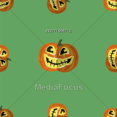 Halloween Smiling Pumpkin Seamless Pattern On Green Stock Photo