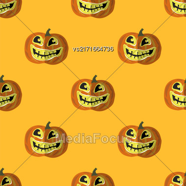Halloween Smiling Pumpkin Seamless Pattern On Orange Stock Photo