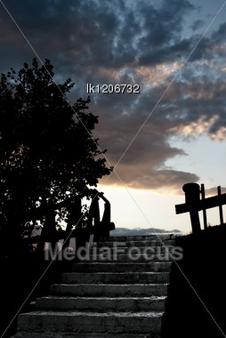 Halloween Terrible Black Ladder Down Against The Background Of The Dark Sky Stock Photo
