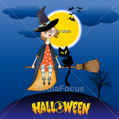 Halloween Witch Background Stock Photo