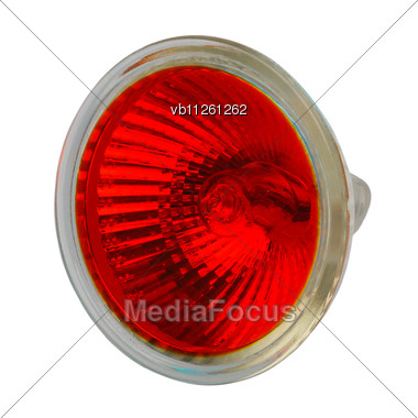 Halogen Electric Lamp In A Protective Glass Case With The Reflector And Red Filter Stock Photo