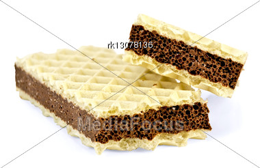 Halves Wafers With An Interlayer Of Porous Chocolate Stock Photo