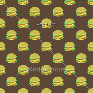 Hamburger Seamless Pattern On Dark Background. Set Of Sandwiches. Unhealthy Fast Food Stock Photo