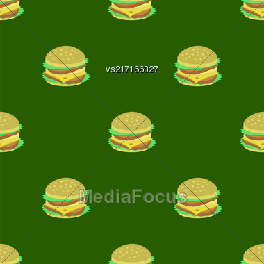 Hamburger Seamless Pattern On Green Background. Set Of Sandwiches. Unhealthy Fast Food Stock Photo