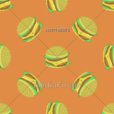 Hamburger Seamless Pattern On Orange Background. Set Of Sandwiches. Unhealthy Fast Food Stock Photo