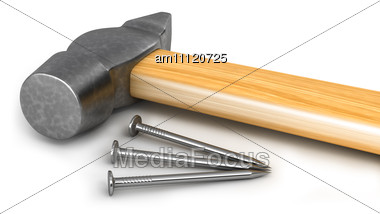 Hammer With Few Nails Stock Photo