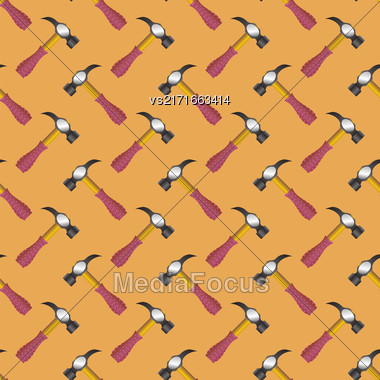 Hammer Icon Seamless Pattern On Orange Background Stock Photo