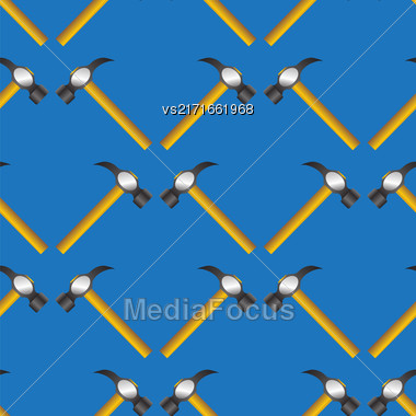 Hammer Seamless Random Pattern Isolated On Blue Background Stock Photo