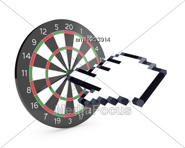 Hand Cursor Hits The Dartboard Stock Photo