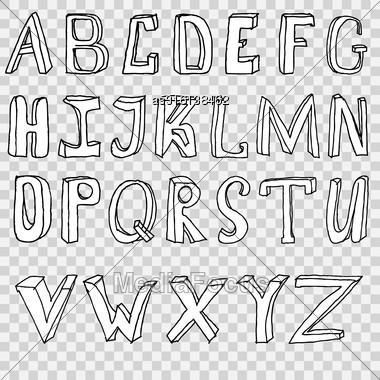 Hand Drawing Alphabet Vector Illustration Set In Black Ink Stock Photo