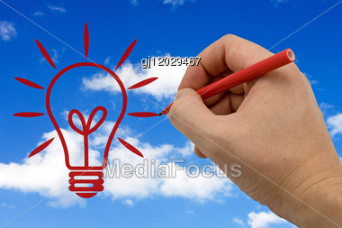 Hand Drawing Lamp Isolated On Sky Background Stock Photo