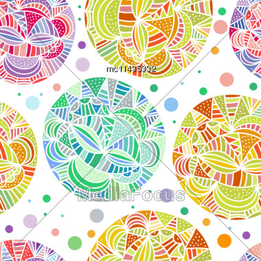 Hand Drawn Abstract Doodle Background. Seamless Vector Pattern With Multicolored Spheres Stock Photo