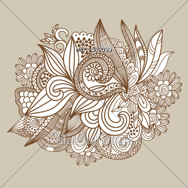 Hand Drawn Abstract Doodle Card Design.Brown And Beige Floral Background. Vector Illustration For Design Of Gift Packs, Wrap, Greeting Cards, Wallpaper, Web Sites And Other Stock Photo