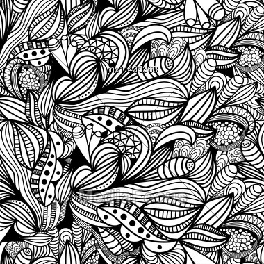 Hand Drawn Abstract Doodle Seamless Pattern. Seamless Background. Vector Illustration For Design Of Gift Packs, Wrap, Patterns Fabric, Wallpaper, Web Sites And Other Stock Photo