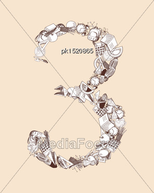 Hand Drawn Alphabet Letter With Education Theme. EPS 10 Vector Illustration Stock Photo