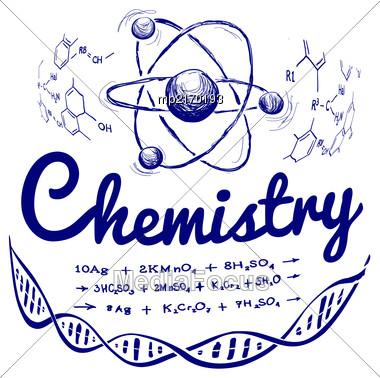 Hand Drawn Chemistry Vector Illustration On White Background Stock Photo