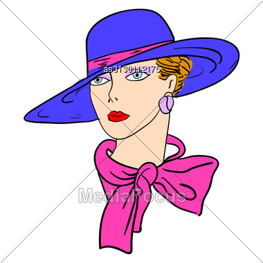 Hand-drawn Fashion Model. Vector Illustration. Woman's Face Stock Photo