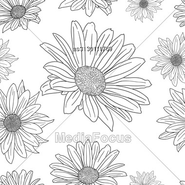 Hand Drawn Floral Wallpaper With Set Of Different Flowers. Could Be Used As Seamless Wallpaper, Textile, Wrapping Paper Or Background Stock Photo