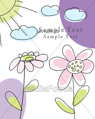 Hand Drawn Infant Card Stock Photo