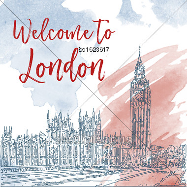 Hand Drawn Ink Line Sketch Of London. Vector Watercolor Background Stock Photo
