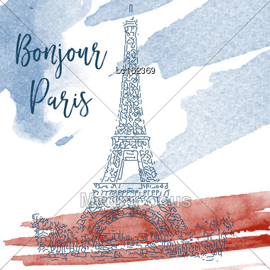 Hand Drawn Ink Line Sketch Of Paris. Vector Watercolor Background Stock Photo