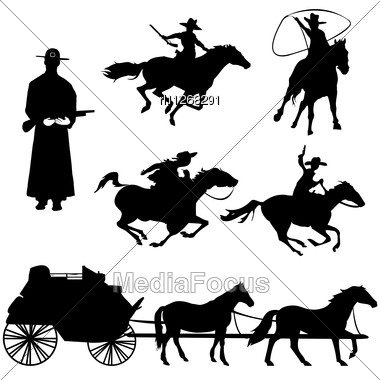 Hand Drawn Silhouettes Of Cowboys And Horses Stock Photo