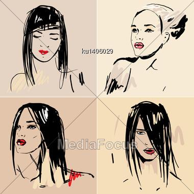 Hand Drawn sketch of Beautiful girls Stock Photo