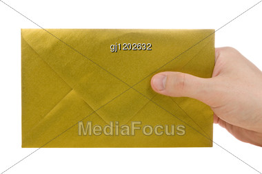 Hand With Gold Envelope Stock Photo