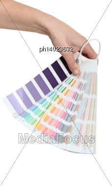 Hand Holding A Colour Chart Stock Photo