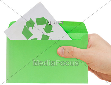 Hand Holding Ecology Envelope With Symbol Of Recycling Stock Photo
