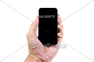 Hand Holding Mobile Phone Stock Photo
