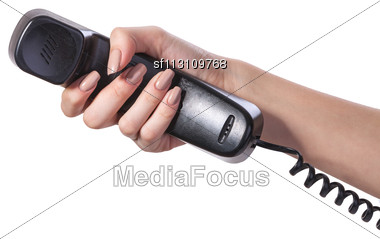 Hand Holding An Old Black Telephone Tube Isolated On White Background Stock Photo