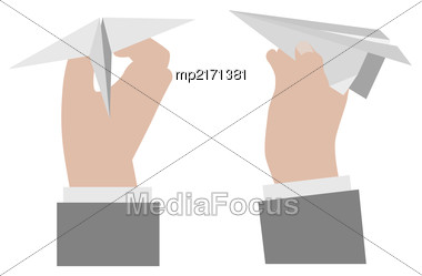 Hand Holding A Paper Airplane.. Vector Illustration Isolated On White Background Stock Photo