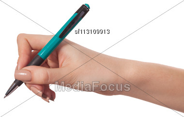 Hand Is Holding A Pen Writing On The White Background Stock Photo