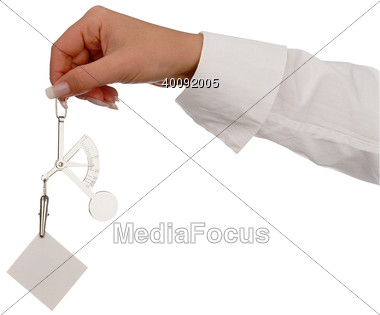 Hand Holding Postage Scale Stock Photo