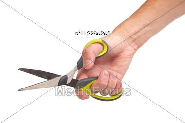 Hand Is Holding Scissors Isolated Stock Photo