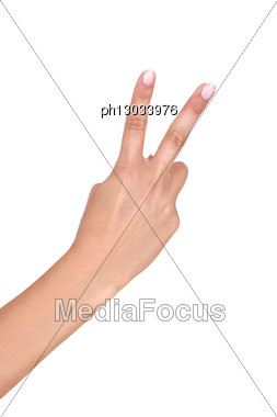Hand Holding Up Two Fingers Stock Photo