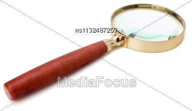 Hand Magnifier Isolated On White Background Stock Photo