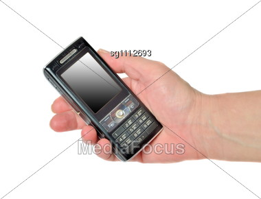 Hand With Mobile Phone Stock Photo
