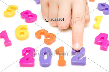 Hand And Numbers Shows Future Year 2012 Stock Photo