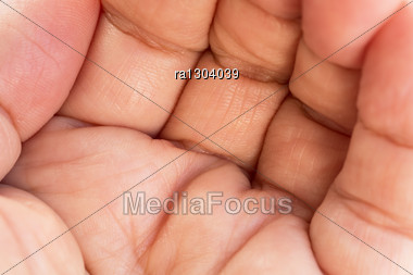 Hand Palm Close Up Picture. Stock Photo