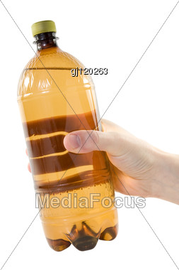 Hand With Plastic Bottle Stock Photo