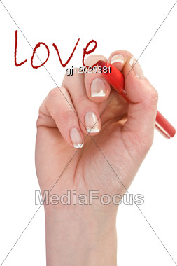 """Hand With Red Marker Writing Word """"love"""" Stock Photo"""