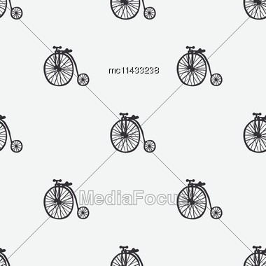 Hand Retro Drawn Bicycles Vector Seamless Pattern Stock Photo