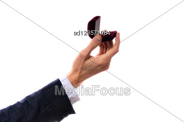 Hand With Ring On White Stock Photo